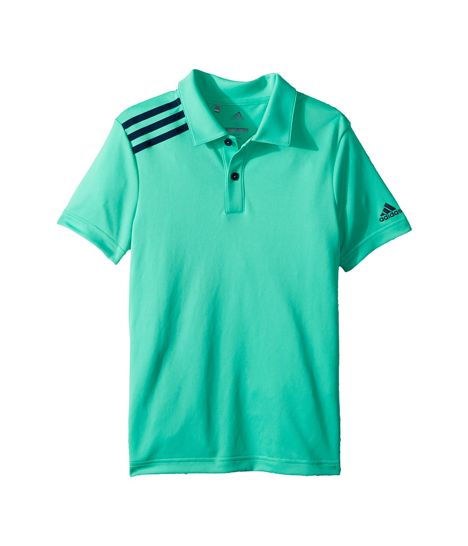 adidas Golf Kids - 3 Stripe Polo (Big Kids) (Hi-Res Green) Boys Short Sleeve Pullover