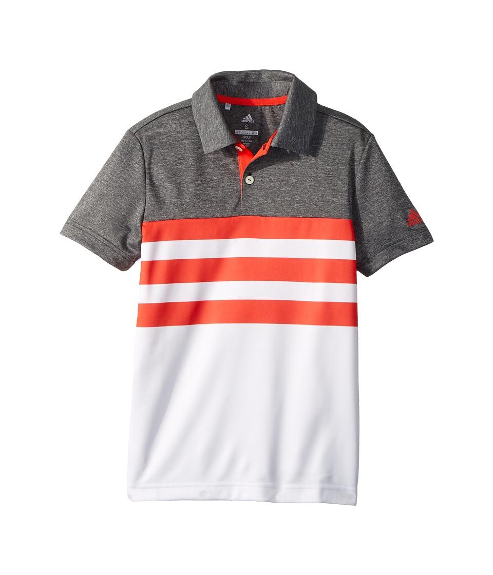 Image of adidas Golf Kids - 3-Stripe Fashion Polo (Big Kids) (Hi-Res Red) Boy's Clothing