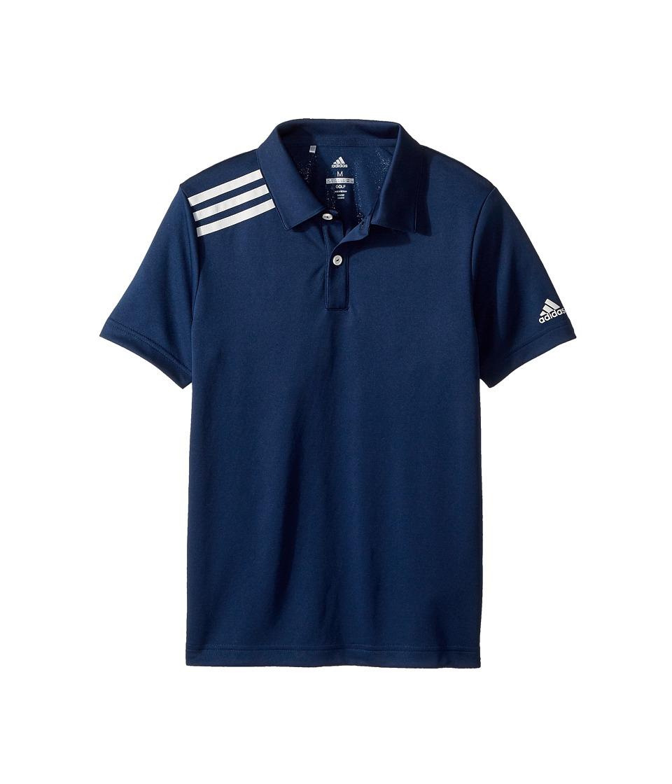 Image of adidas Golf Kids - 3 Stripe Polo (Big Kids) (Collegiate Navy) Boy's Short Sleeve Pullover