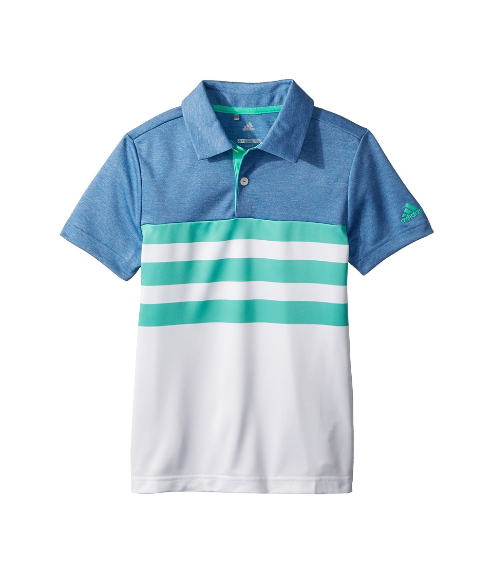 Image of adidas Golf Kids - 3-Stripe Fashion Polo (Big Kids) (Hi-Res Green) Boy's Clothing