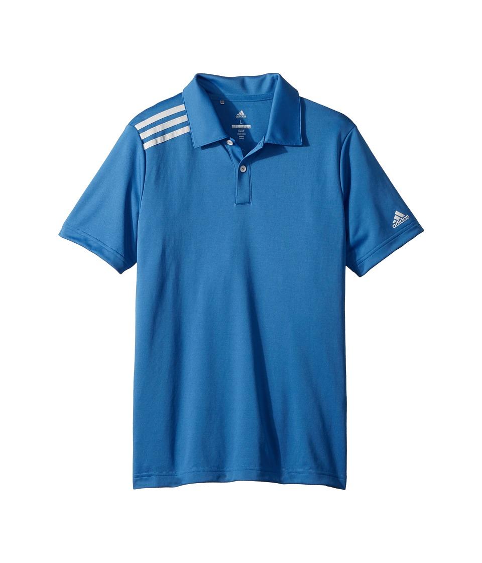 Image of adidas Golf Kids - 3 Stripe Polo (Big Kids) (Trace Royal) Boy's Short Sleeve Pullover