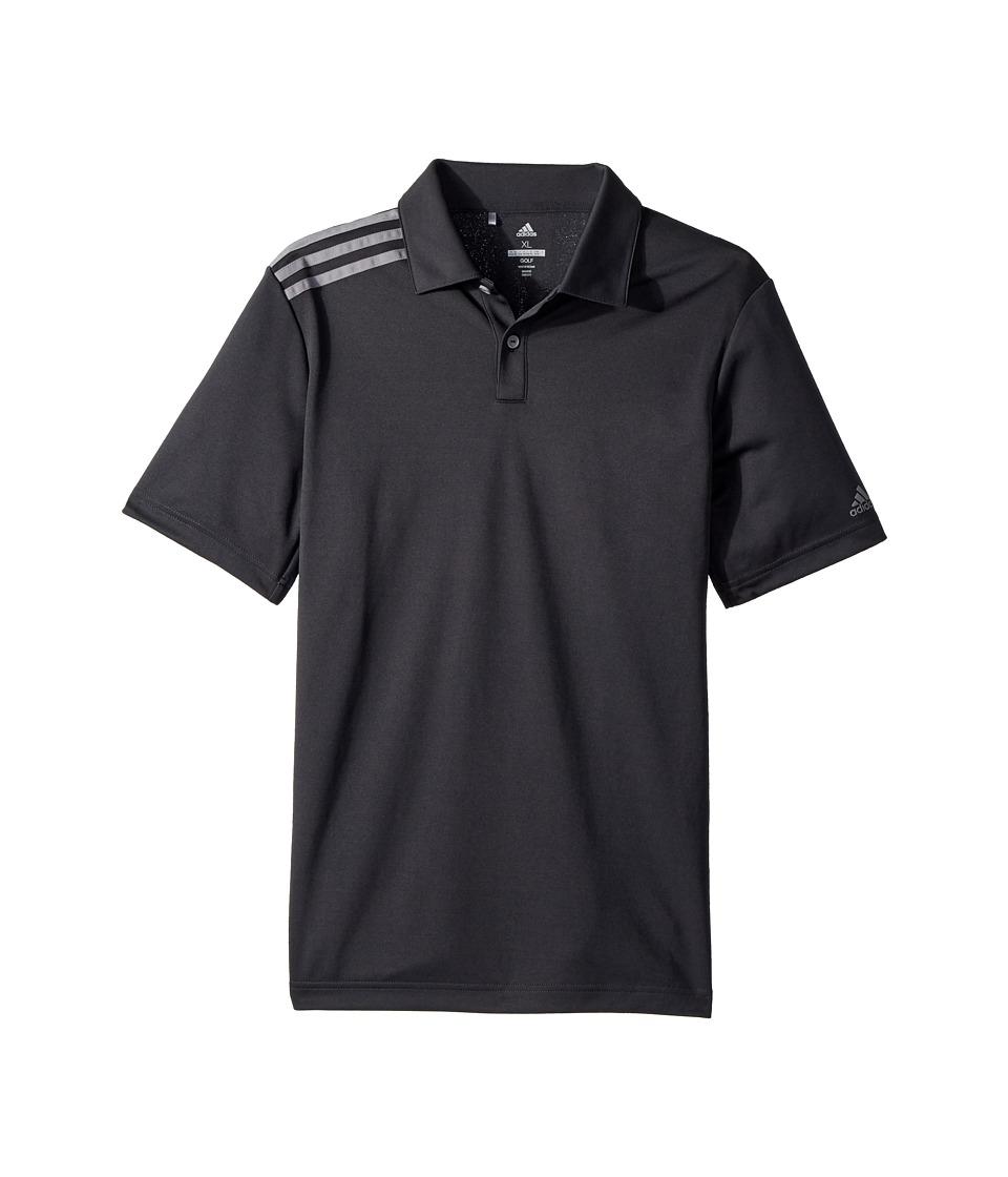 Image of adidas Golf Kids - 3 Stripe Polo (Big Kids) (Carbon) Boy's Short Sleeve Pullover