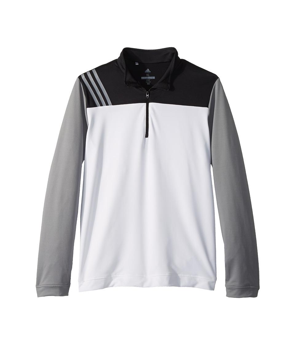 Image of adidas Golf Kids - 3-Stripe Layering Jacket (Big Kids) (White) Boy's Coat