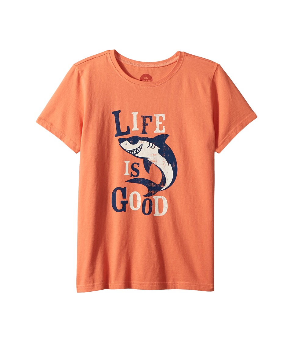 Life is Good Kids - Shark Crusher Tee (Little Kids/Big Kids) (Fresh Coral) Boys T Shirt