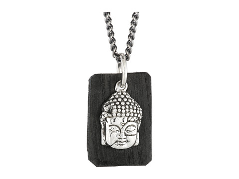 King Baby Studio Meditating Buddha Pendant Necklace w/ Leather Tag - Sterling Silver