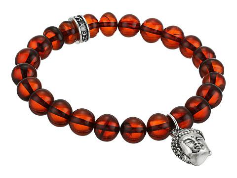King Baby Studio Buddha Charm 10mm Beaded Bracelet - Amber