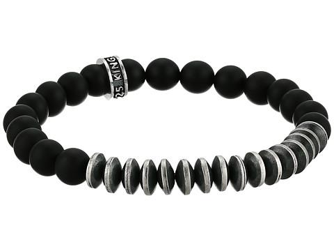 King Baby Studio 8mm Onyx Bead Bracelet w/ Silver Disk Beads - Black/Silver