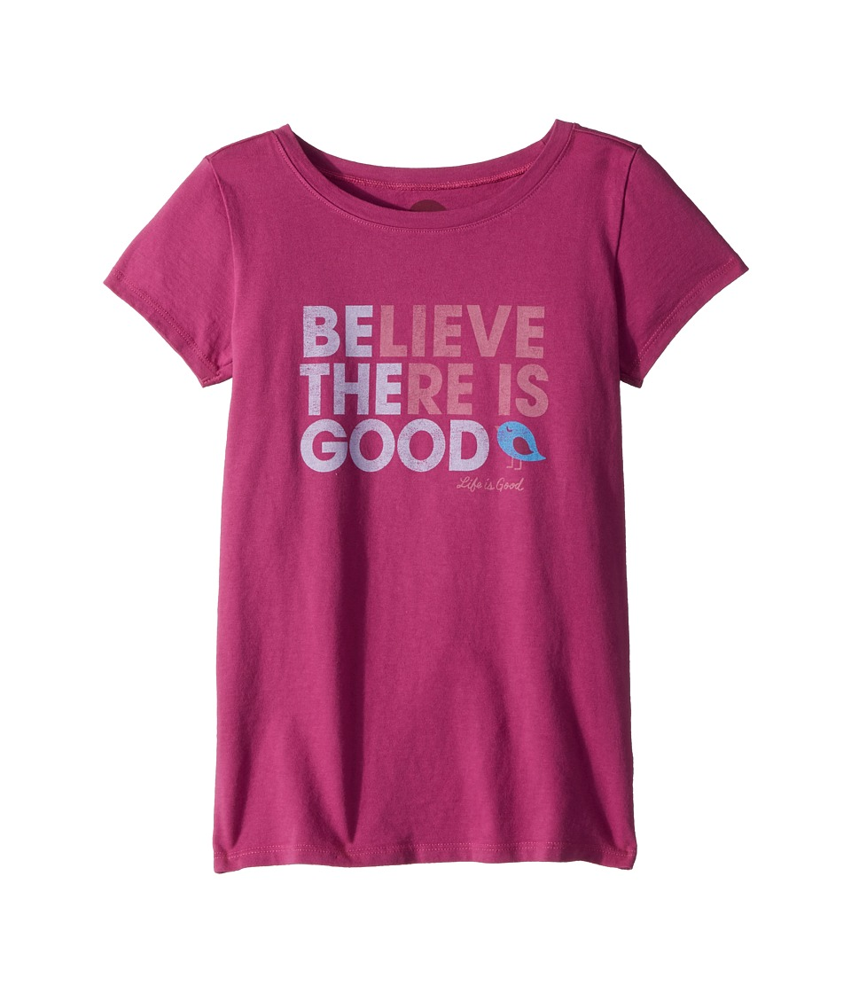 Life is Good Kids - Believe There is Good Crusher Tee (Little Kids/Big Kids) (Sassy Magenta) Girls T Shirt