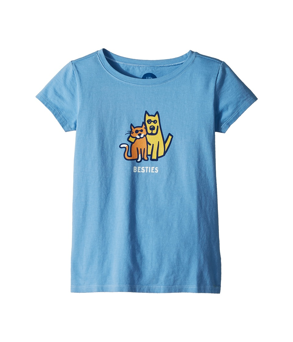Life is Good Kids - Besties Rocket and Cat Crusher Tee (Little Kids/Big Kids) (Powder Blue) Girls T Shirt