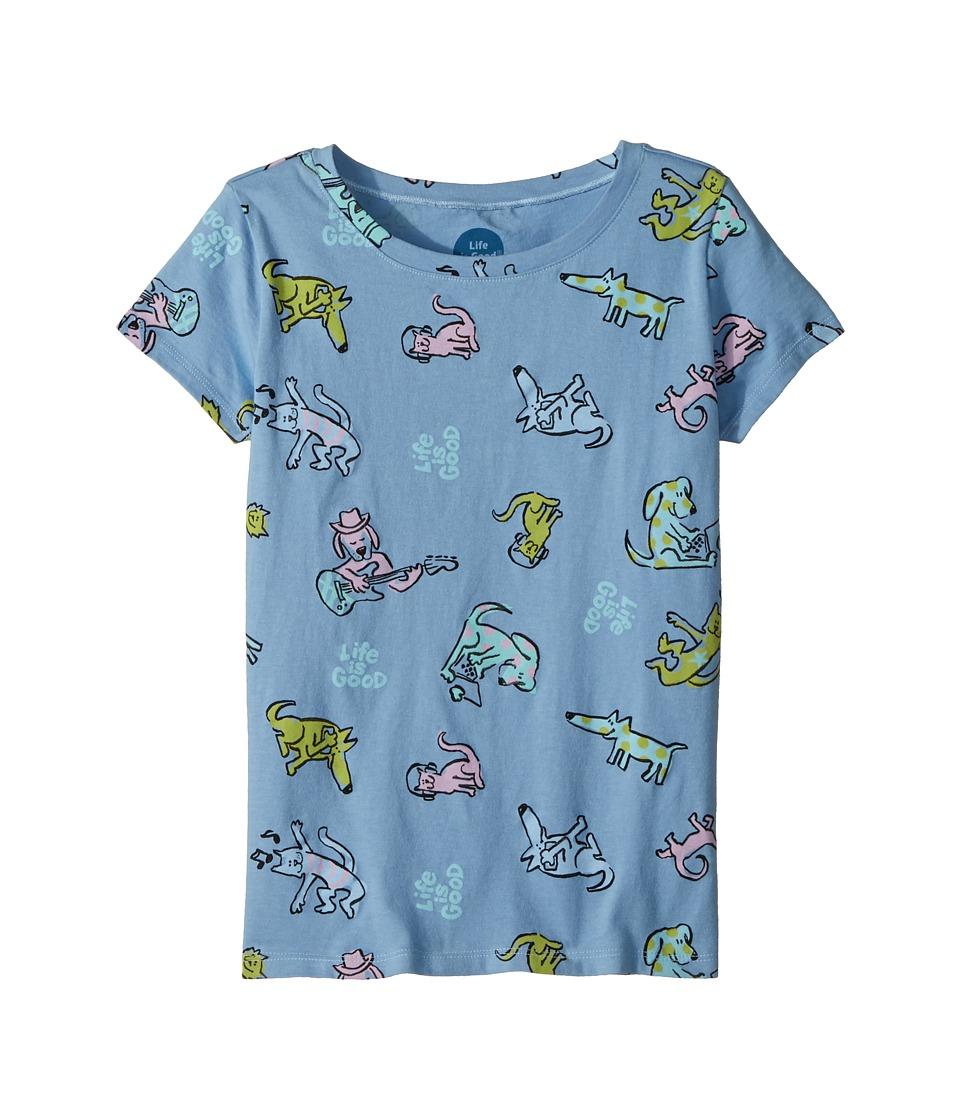 Life is Good Kids - Happy Dog Print Crusher Tee (Little Kids/Big Kids) (Powder Blue) Girls T Shirt