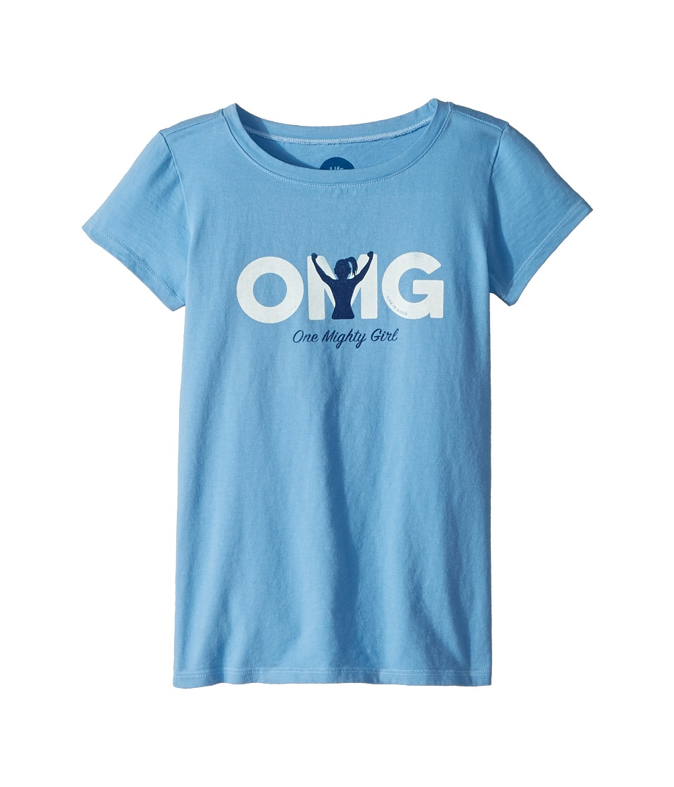 Life is Good Kids - One Mighty Girl Crusher Tee (Little Kids/Big Kids) (Powder Blue) Girls T Shirt