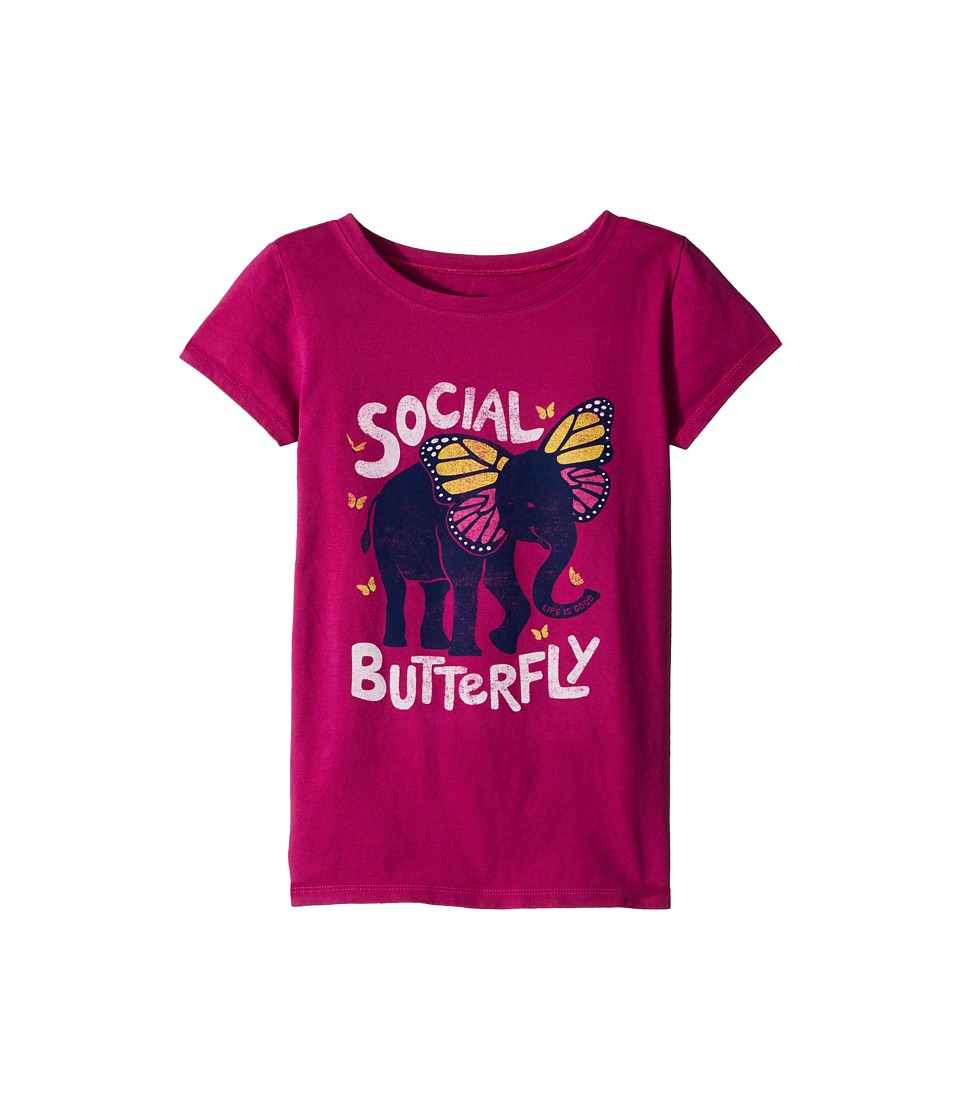 Life is Good Kids - Social Butterfly Crusher Tee (Little Kids/Big Kids) (Sassy Magenta) Girls T Shirt