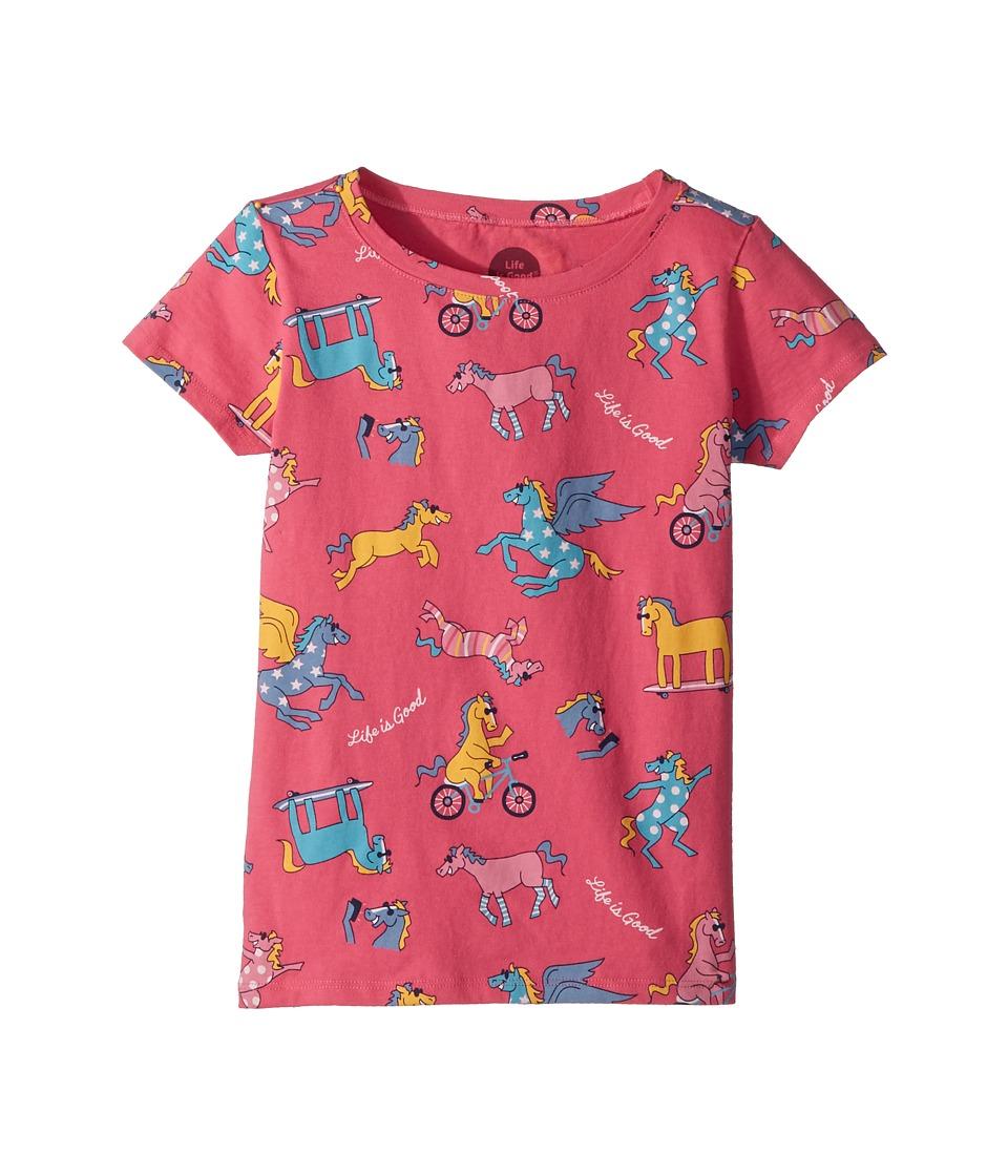 Life is Good Kids - Happy Horse Print Crusher Tee (Little Kids/Big Kids) (Fiesta Pink) Girls T Shirt