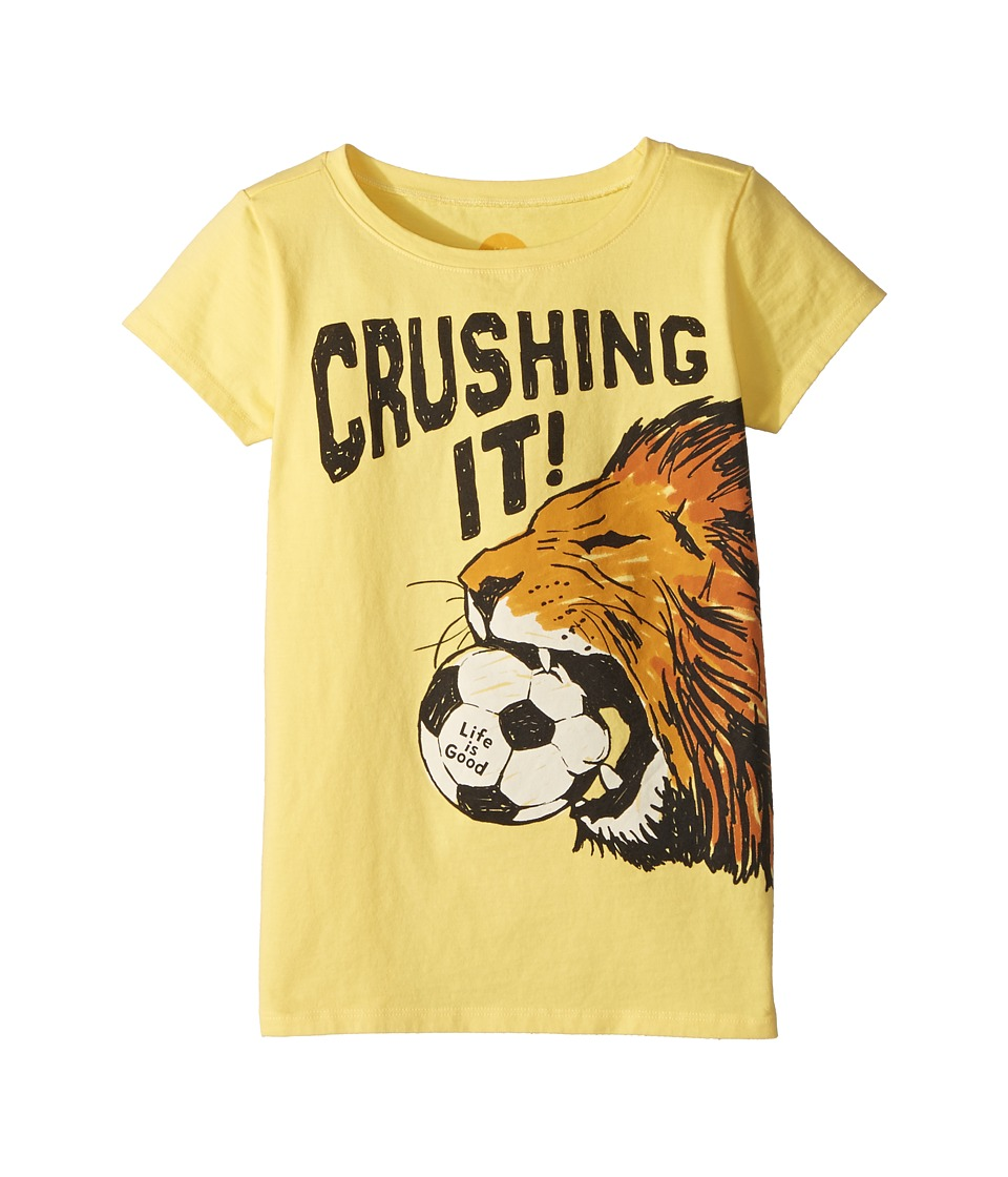 Life is Good Kids - Crushing It Soccer Crusher Tee (Little Kids/Big Kids) (Happy Yellow) Girls T Shirt