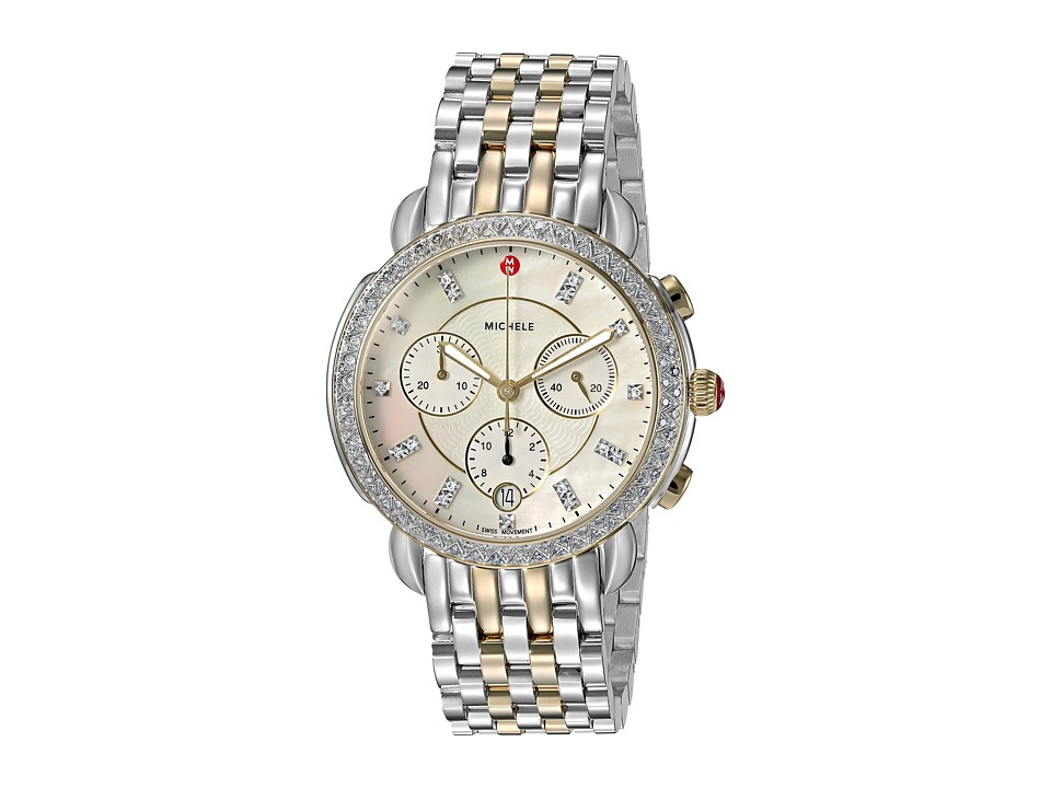 Michele Watches Sidney Diamond Bezel Two-Tone Stainless S...
