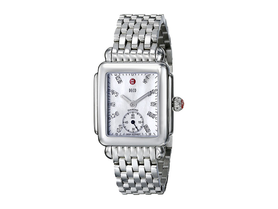 Michele Watches Deco Mid Diamond Dial Watch (Silver) Watches