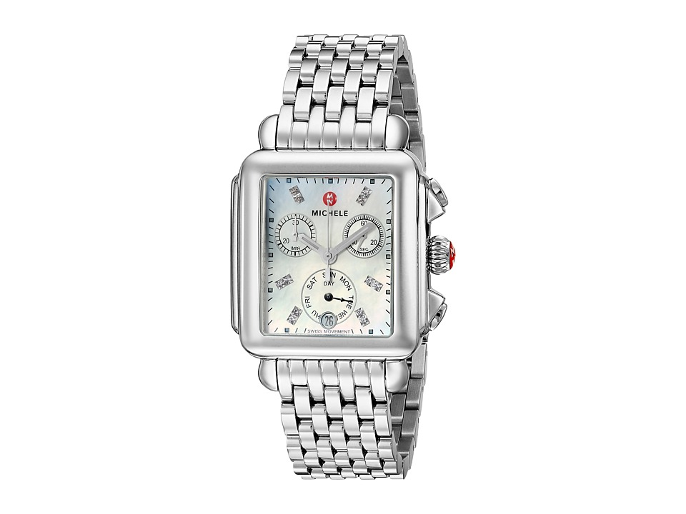 Michele Watches Deco Diamond Dial Stainless Steel Watch (...