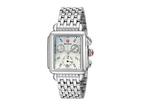 Michele Deco Diamond Dial Stainless Steel Watch - Silver