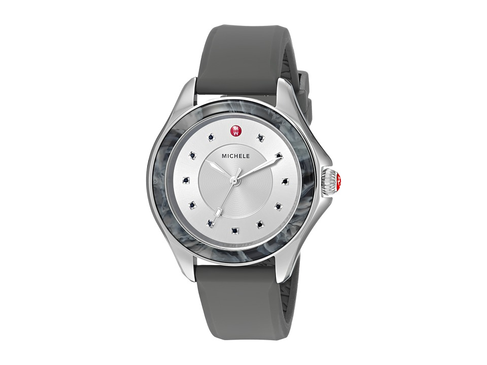 Michele - The Cape Stainless Steel Grey Silicone Strap (Grey) Watches