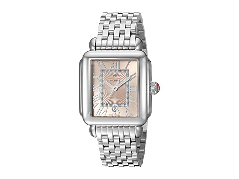Michele Deco Madison Stainless Steel Watch with Beige Diamond Dial - Silver