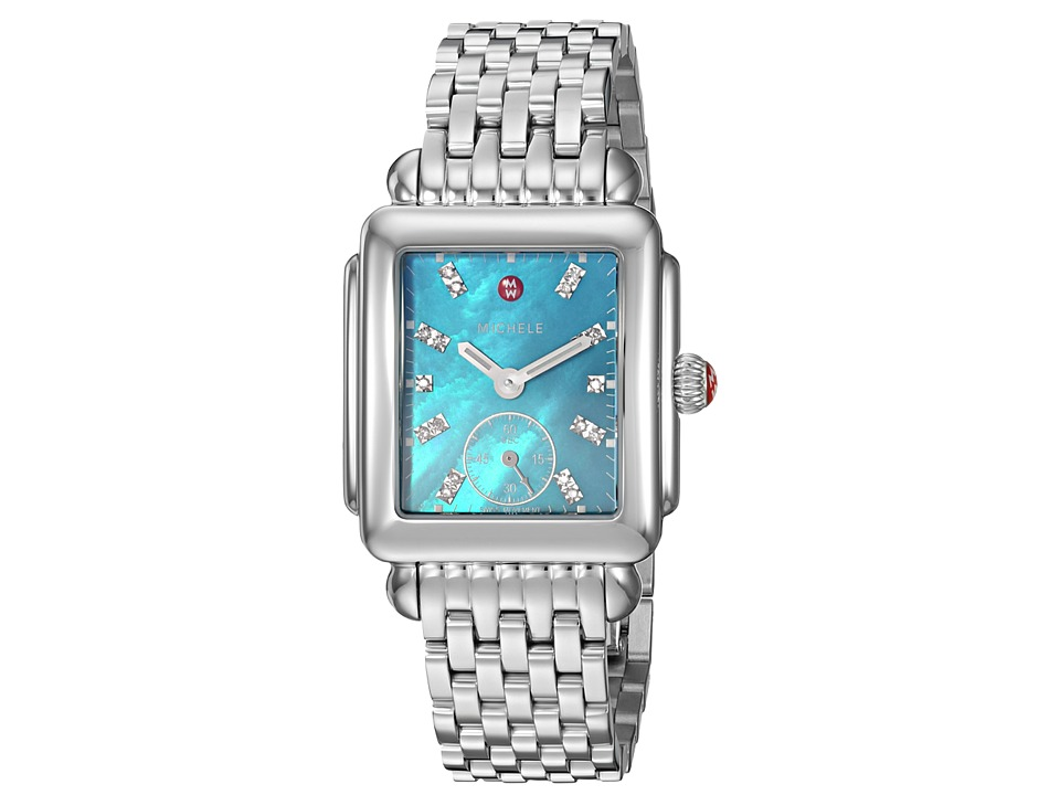Michele - Deco Mid Blue Dial Stainless Steel Watch (Silver) Watches