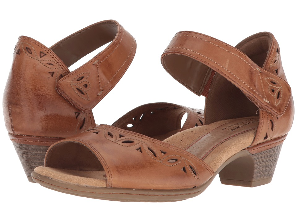 Vintage Sandals | Wedges, Espadrilles – 30s, 40s, 50s, 60s, 70s Rockport Cobb Hill Collection - Cobb Hill Abbott Two-Piece Ankle Strap Tan Leather Womens  Shoes $119.99 AT vintagedancer.com