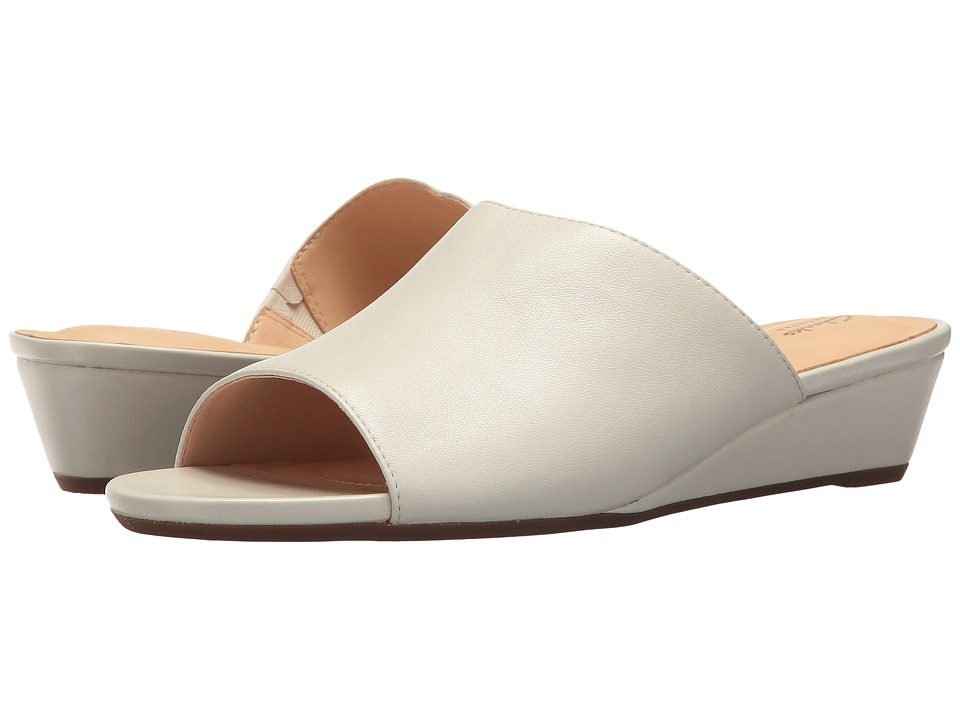 Clarks - Parram Waltz (White Leather) Womens Slide Shoes