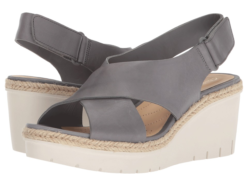 Clarks - Palm Glow (Grey Leather) Womens Wedge Shoes