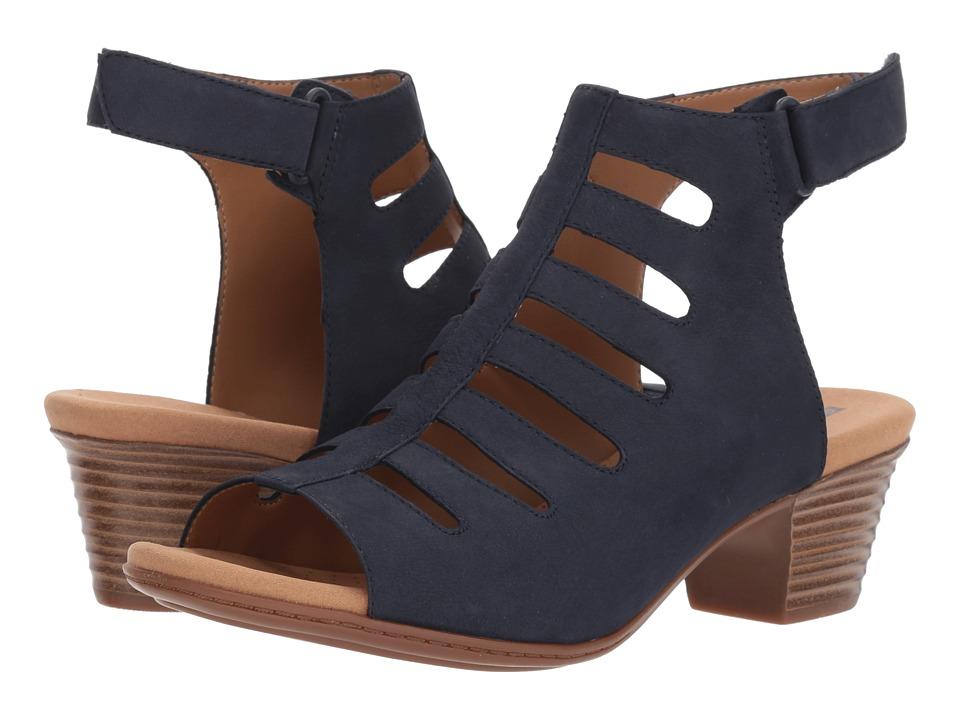 Clarks - Valarie Shelly (Navy Nubuck) Womens Sandals