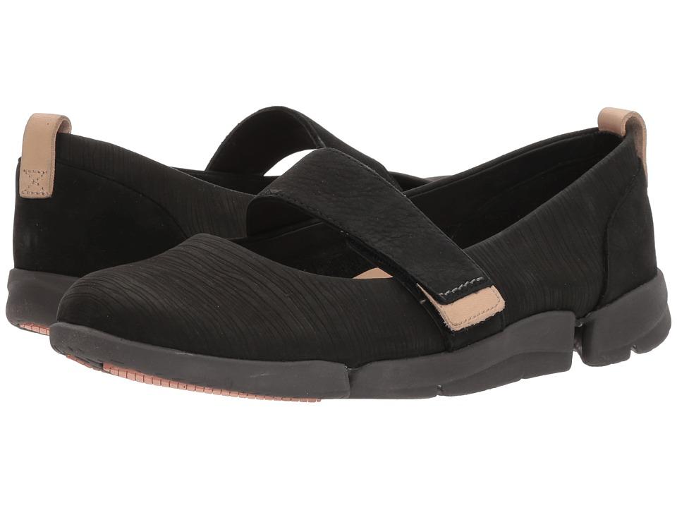 Clarks - Tri Carrie (Black Nubuck) Womens Slip on  Shoes