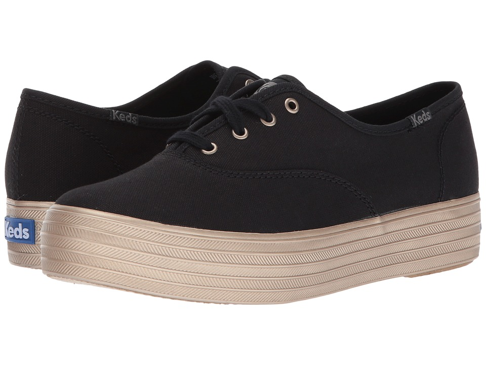 Keds - Triple Shimmer (Black/Champagne) Womens Lace up casual Shoes