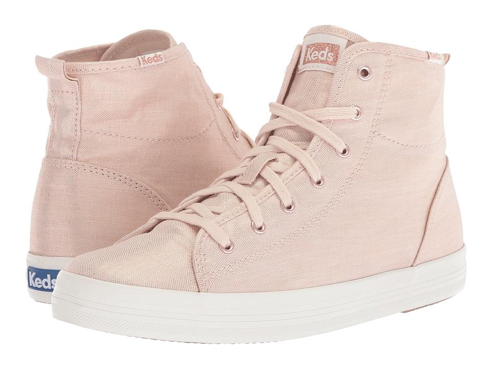 Keds - Kickstart Hi Metallic Linen (Rose Gold) Womens Lace up casual Shoes