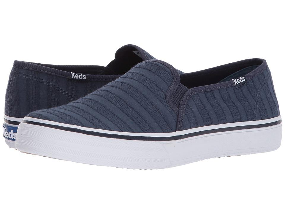 Keds - Double Decker Eyelet Stripe (Navy) Womens Slip on  Shoes