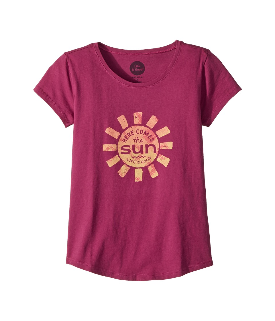 Life is Good Kids - Here Comes The Sun Smiling Smooth Tee (Little Kids/Big Kids) (Sassy Magenta) Girls T Shirt