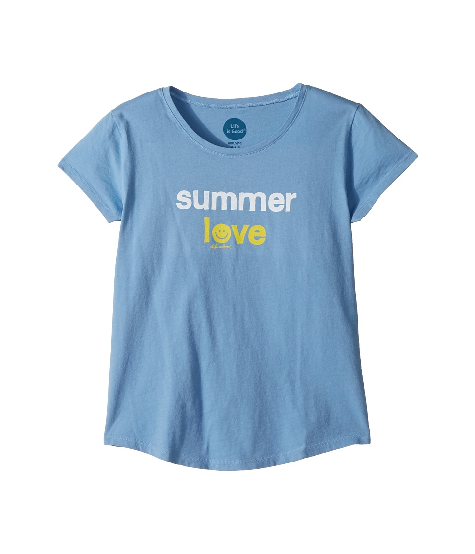 Life is Good Kids - Summer Love Smiling Smooth Tee (Little Kids/Big Kids) (Powder Blue) Girls T Shirt