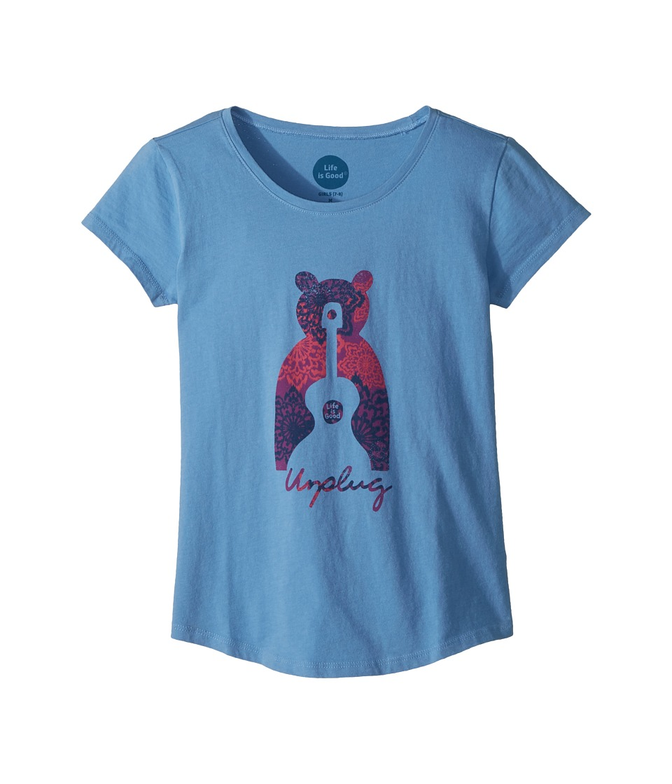 Life is Good Kids - Unplug Bear Smiling Smooth Tee (Little Kids/Big Kids) (Powder Blue) Girls T Shirt