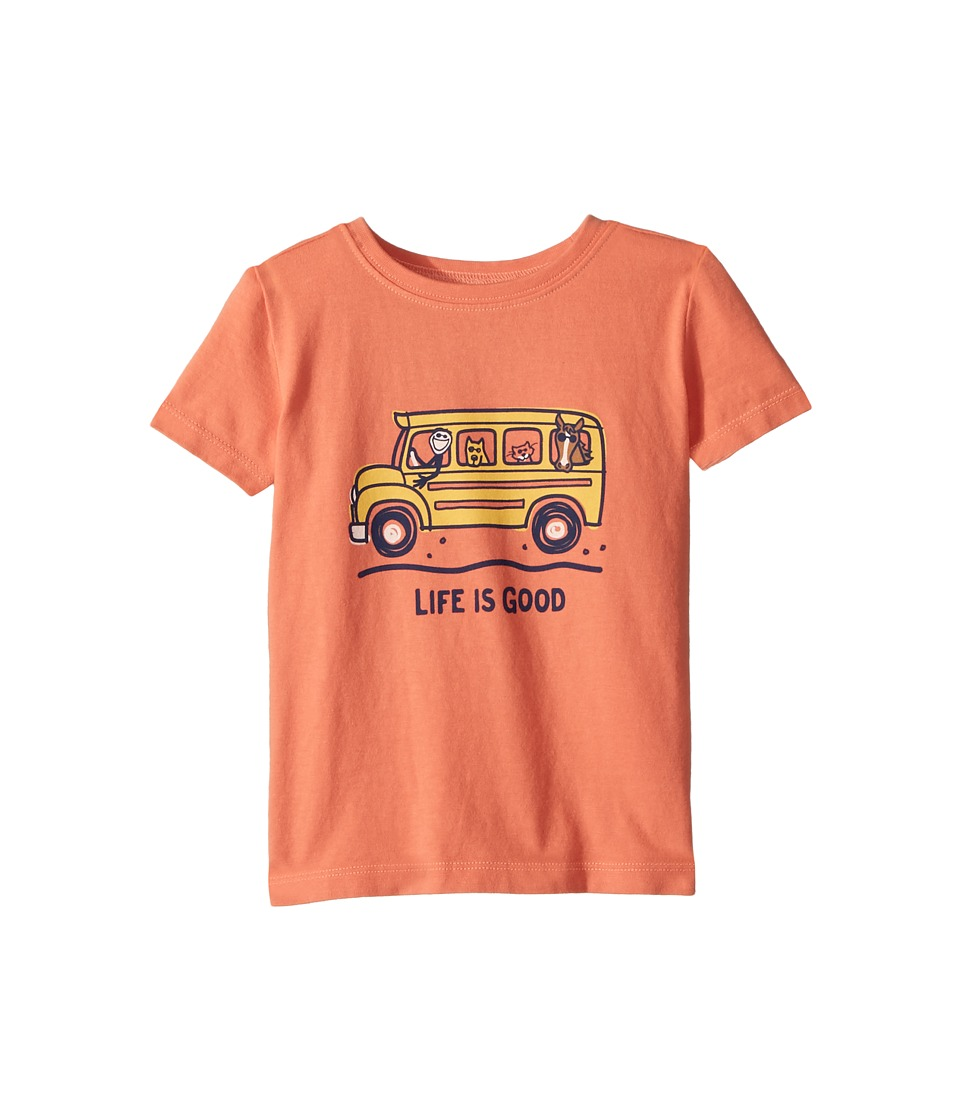 Life is Good Kids - School Bus Friends Crusher Tee (Toddler) (Fresh Coral) Kids Clothing