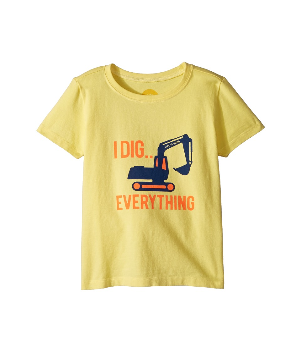 Life is Good Kids - I Dig Everything Crusher Tee (Toddler) (Happy Yellow) Kids Clothing
