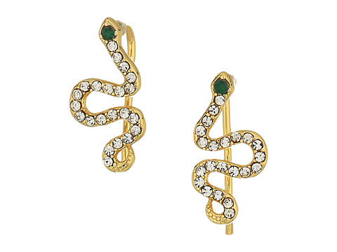 SHASHI Snake Pave Climber Earrings - Gold/Vermeil