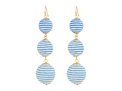 SHASHI Matilda Stripe Linear Drop Earrings - Light Blue