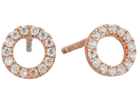 SHASHI Circle Pave Stud Earrings - Rose Gold/Crystal