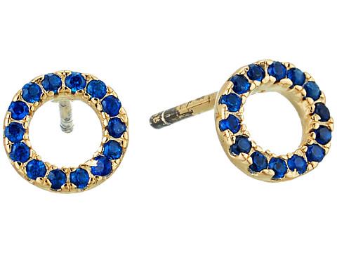 SHASHI Circle Pave Stud Earrings - Gold/Vermeil/Sapphire