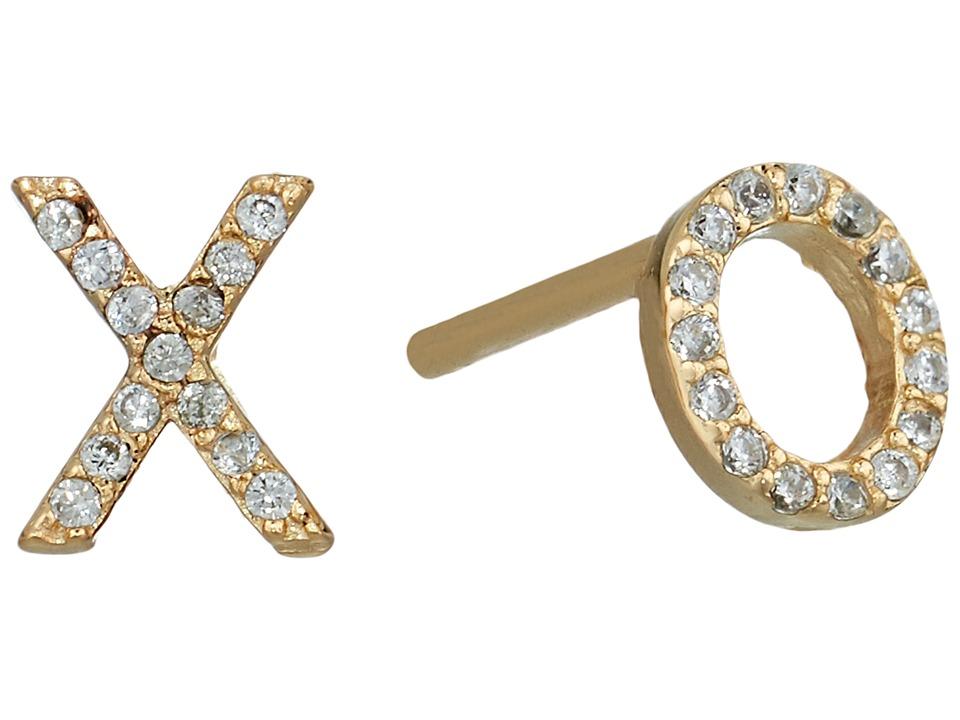 SHASHI - XO Pave Stud Earrings (Gold/Vermeil) Earring