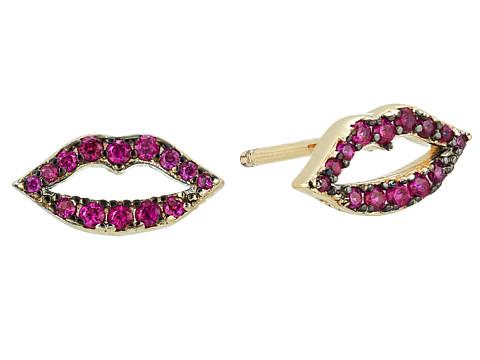 SHASHI Katie Lips Stud Earrings - Gold/Vermeil