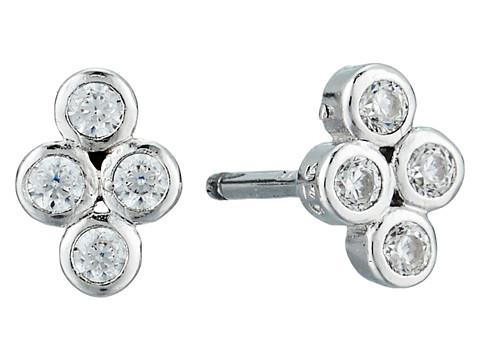 SHASHI Noa Stud Earrings - White/Gold/Crystal