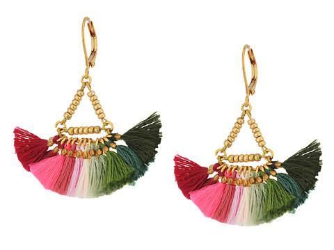 SHASHI Lilu Tassel Earrings - Pink/Olive Green Multi