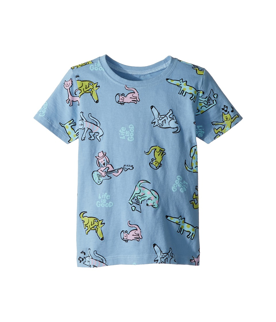 Life is Good Kids - Raining Cats and Dogs Crusher Tee (Toddler) (Powder Blue) Girls Clothing