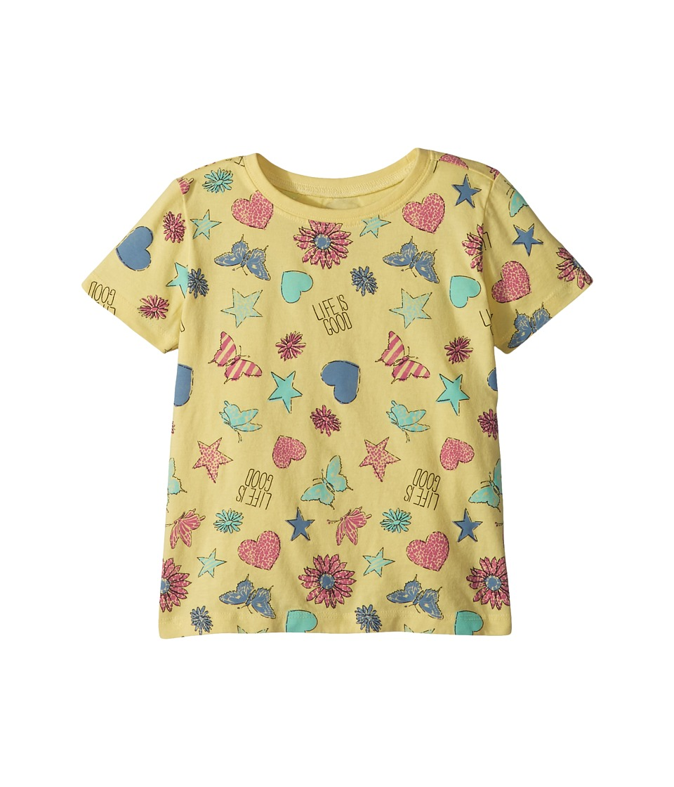 Life is Good Kids - Float Like a Butterfly Crusher Tee (Toddler) (Happy Yellow) Girls Clothing