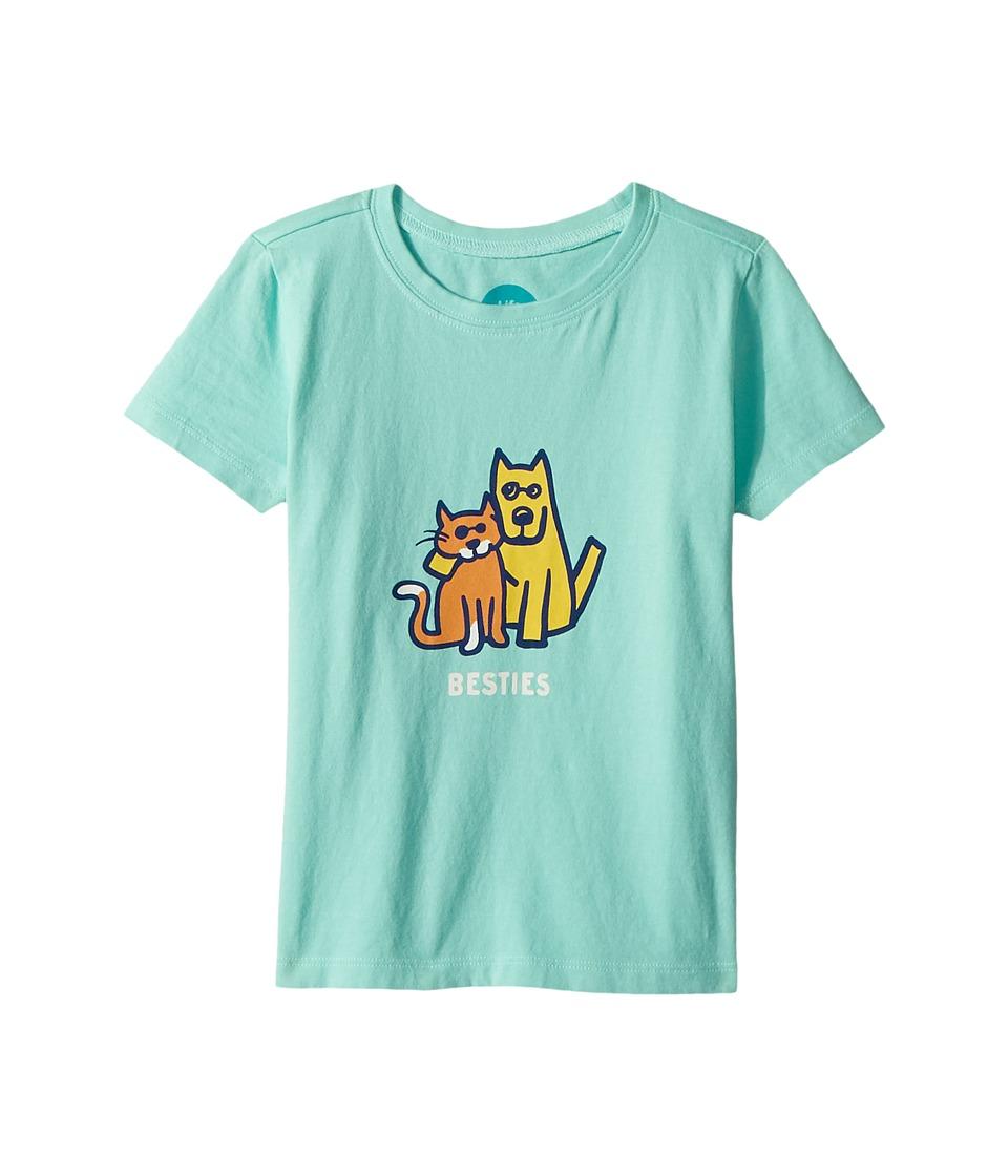 Life is Good Kids - Besties Rocket and Cat Crusher Tee (Toddler) (Cool Aqua) Kids Clothing
