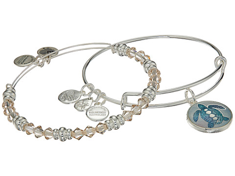 Alex and Ani Art Infusion Bracelet Set, Turtle - Shiny Silver